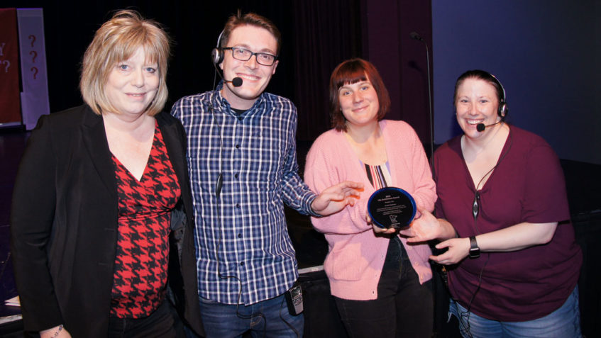 Julie Johnson, left, president of the Minnesota Organization for Habilitation and Rehabilitation (MOHR), presented a Life Enrichment Award at Lakeville Area Arts Center to leaders of ProAct Playhouse, a drama program for individuals with disabilities. From her left are Co-directors Matt Briggs and Amanda Thomm, and Production Director Kelly Campion. Briggs said the goal of the program is to enhance self-esteem, build communication skills and professional presence. ProAct is based in Eagan.