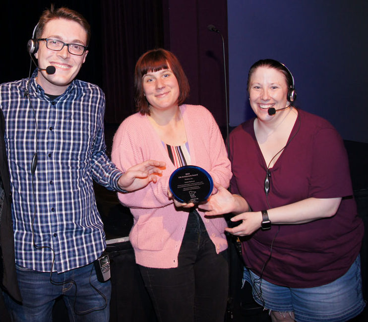 The Minnesota Organization for Habilitation and Rehabilitation (MOHR) presented a Life Enrichment Award at Lakeville Area Arts Center to leaders of ProAct Playhouse, a drama program for individuals with disabilities. From her left are Co-directors Matt Briggs and Amanda Thomm, and Production Director Kelly Campion. Briggs said the goal of the program is to enhance self-esteem, build communication skills and professional presence. ProAct is based in Eagan.