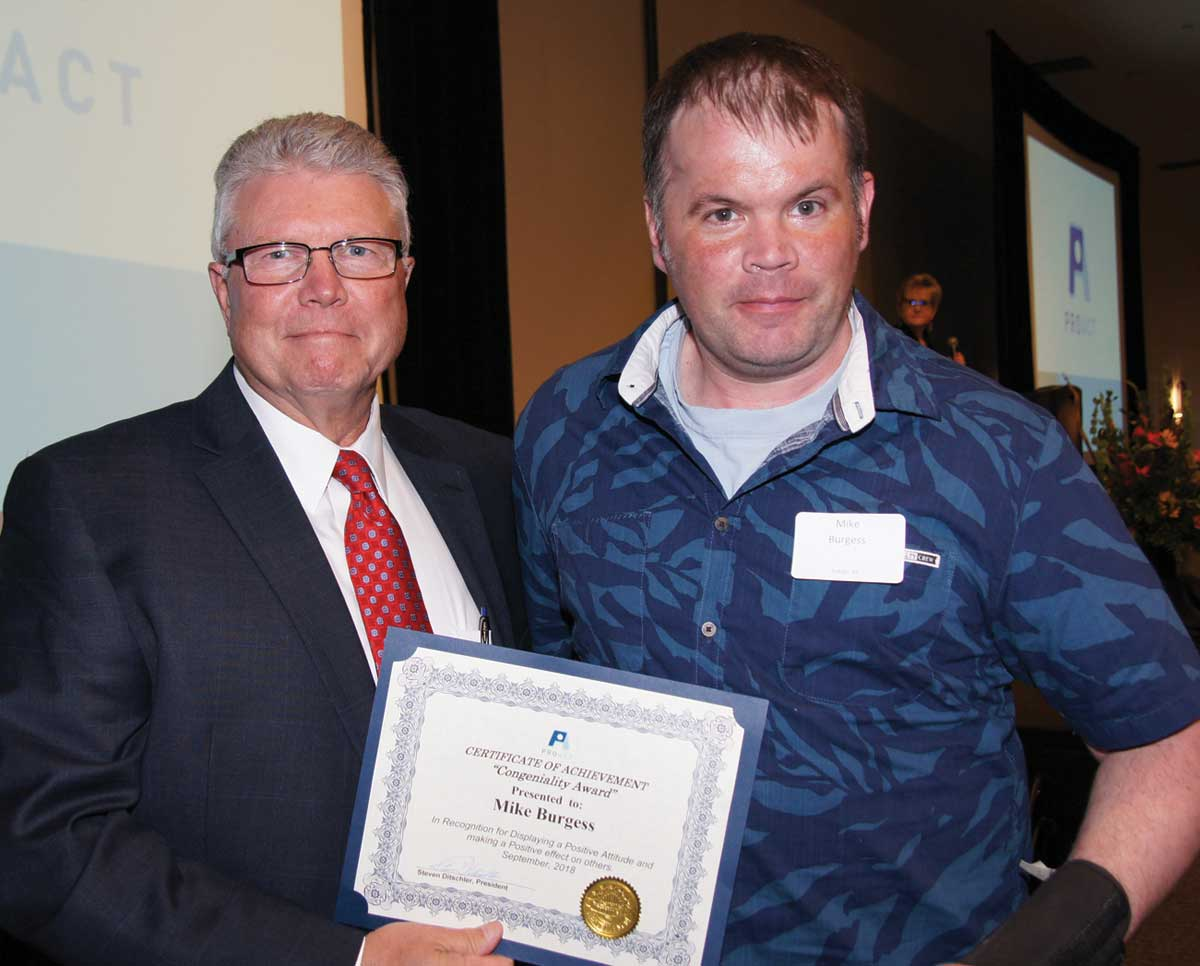 Mike Burgess in Eagan received a Congeniality Award at the Recognition Banquet.