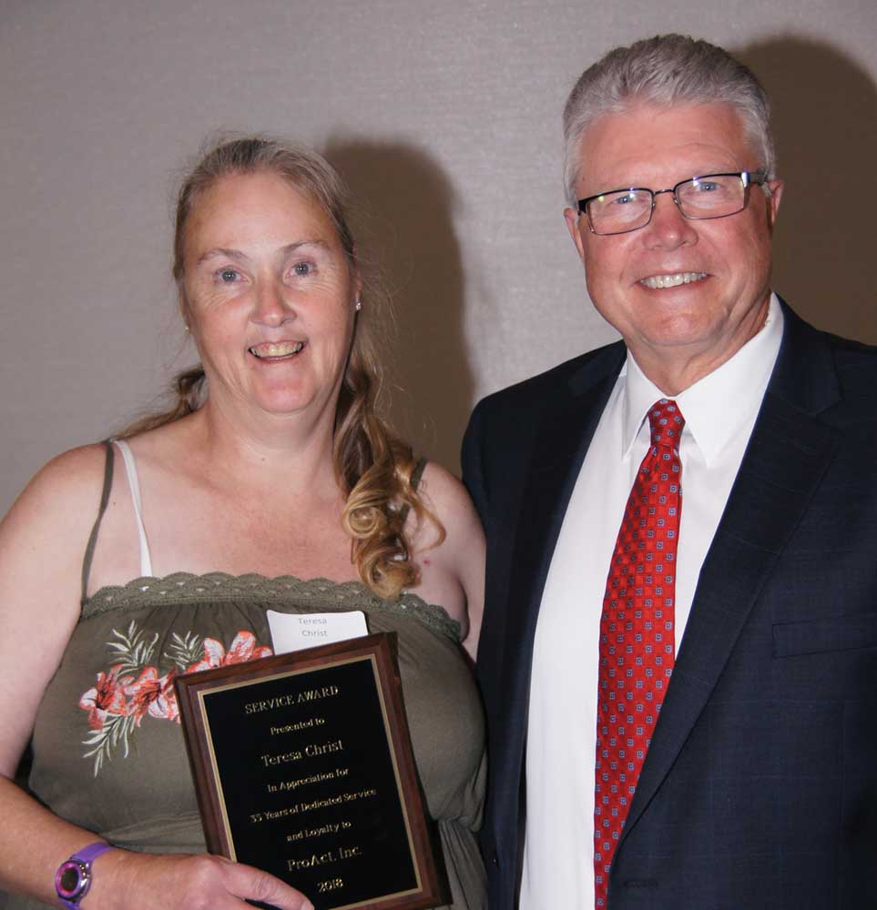 Teresa Christ in Eagan celebrated 35 years of service to ProAct. Sue Carlson reached 40, but did not attend the banquet.