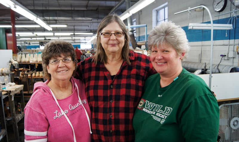 Audrey Bakos, center, found a fine job match at Riedell Skates in Red Wing. She's with Finishing Supervisor, Brenda Gold, left, and her trainer and coworker, Vicki Riegelman, whose husband, Paul, is the grandson of the company's founder. Paul Riedell started the company with his wife, Sophie, in 1945.